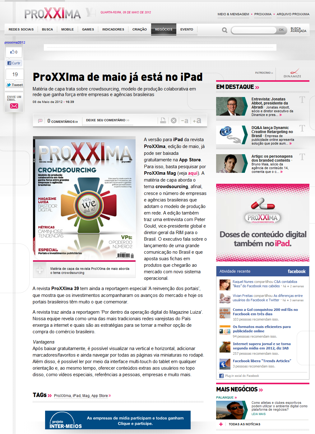 """Ilustração """"WES, WE DID IT!"""" em destaque na HOME do site da ProXXima:"""